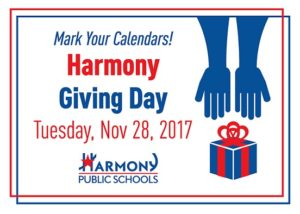 """Harmony Giving Day Tuesday Nov 28, 2017 written on card"